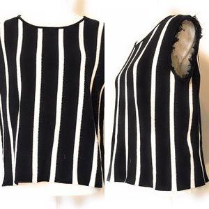 Joan vass striped vest, Sz Large, black & white